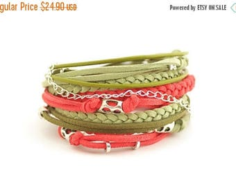 Mothers Day Color of the 2017 GREENERY Women wrap Bracelet, Coral Olive Sage Boho Bracelet, Bohemian style, hipster, Gypsy Hippie Jewelry, g
