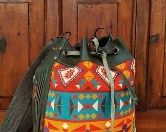 Aztec style large bucket bag