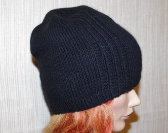 6 Ply Black Cashmere Hand Knit Reversible Beanie Hat for Men or Women