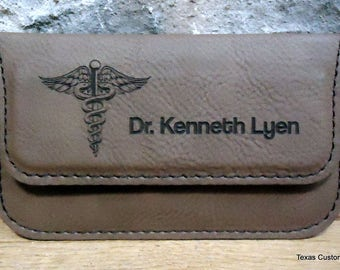 Personalized Business Card Case, Leatherette Business Card Holder, Engraved Business Card Case, Custom Business Card Case