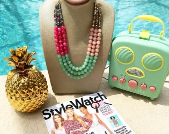 Statement Necklace Bridesmaid Jewelry POOLSIDE Necklace  Wedding Jewelry Statement Jewlery SPARKLING Bright Pink  Bib Necklace