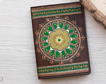 Painted leather passport cover, gift for women or gift for men. Gift idea for traveler, beautiful passport case oriental style