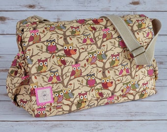 Owl bag, baby changing bag, diaper bag, cross body messenger ,large purse, baby shower gift, gift for women, large bag, new baby gift