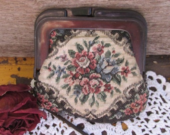 Vintage Tapestry Coin Purse, Shabby Purse,