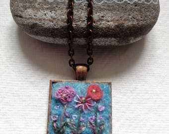 Hand made Felt and Embroidered Pendant.
