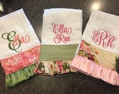 Burp Cloths for Girls-Set of 3, monogrammed burp cloths, burp cloths with ruffle, personalized baby gift