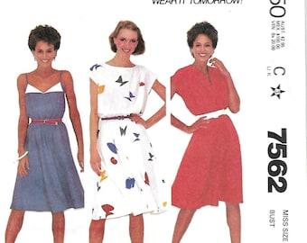 McCall's 7562 Make It Tonight Misses Dresses Sewing Pattern, size 8, 10 & 14, UNCUT