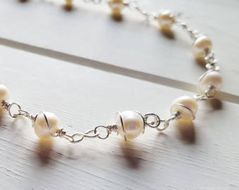 Grace - Twist Wire Wrap White Pearl Necklace,  Ready to Ship