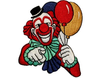 ID 0120 Party Clown with Balloons Patch We Want You Embroidered IronOn Applique