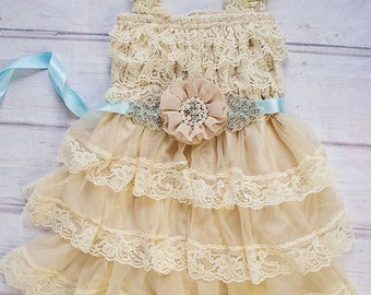Rustic Flower Girl Dress, Wheat Flower Girl - Rustic Lace Flower Girl Dress  / Embellished Tan Dusty Blue Sash Dress, Tan Flower Girl Dress