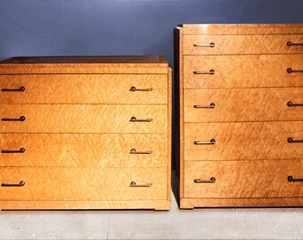 Set of Two Art Deco Bird's-Eye Maple Dressers, circa 1935