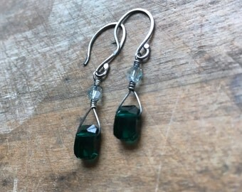Emerald green crystal earrings May birthstone jewelry birthday gift for her under 50