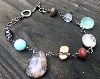 Mala bracelet grateful heart jewelry oxidized sterling silver and semiprecious gemstones