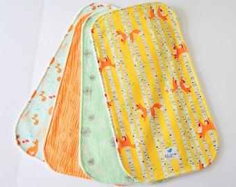 Burp Cloths for Baby Boy or Girl, Set of 4 - Fox, Birch Tree, Dandelion, Woodland Animal on Cotton, Minky Back