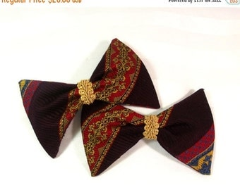 Sale, Vintage Bow Hair Clips - Bow Tie Barrette Set - Retro Bow Hair Accessory - Designer Hair Bows - Vintage Bow Barrette - Bow Tie Hair Cl
