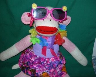 Hawaiian Girl Traditional Red Heel Sock Monkey Doll With Hawaiian Fabric Skirt Lei and Sunglasses