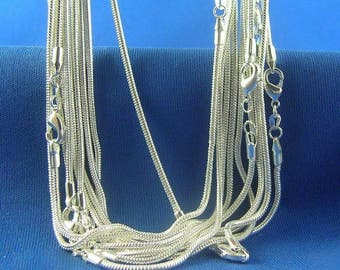 "Sterling Silver SNAKE Necklace Chain (1pc) - 1.2mm Thick - Pick Size 16"" through 38"" - Finished Necklace - Lobster Clasp - 925 Stamped"
