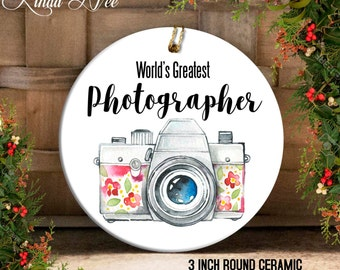 World's Greatest Photographer, Photography Ornament, Gift for Photographer, Camera Ornament, Christmas Gift Idea, Gift Under 20 Camera OCH46