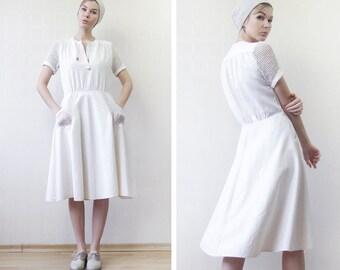 Vintage oatmeal beige ivory white linen cotton unique cut short linen mesh sleeve summer midi dress M