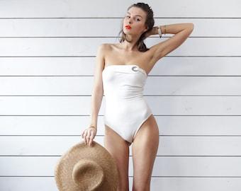LA PERLA Vintage white low back strapless removable halter neck one piece pool beach luxury resort swimsuit M