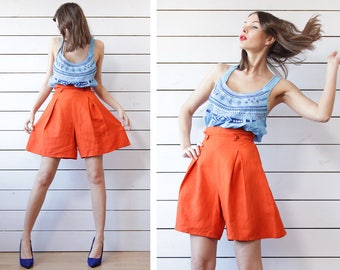 BENETTON bright orange linen extra high waist wide leg mini shorts XS