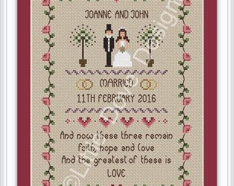 INSTANT DOWNLOAD Faith Hope and Love Wedding Cross Stitch Sampler PDF Chart