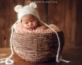 Newborn Mohair Ear bear bonnet-Baby knit mohair bonnet-newborn photography