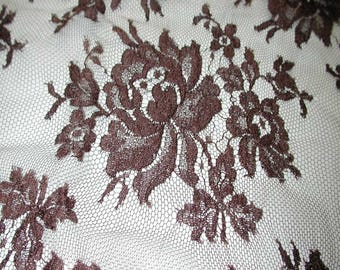 "No. 300 OMBRE CHOCOLATE BROWN French Solstiss Chantilly Lace, Dbl Scallop, 53"" x 4.5 Yards"