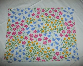 Vintage Marimekko Finland  cotton placemat with summer flowers and squares