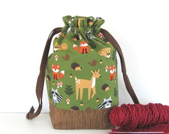 Crochet project bag, Knitting bag, Medium drawstring tote, Knitters gift, Yarn bag - Into the Woods
