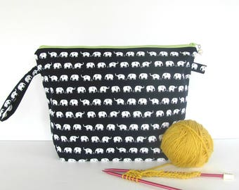 Medium project bag, Padded accessories case, Wedge knitting bag, Large zippered pouch, Elephant canvas shawl knitting bag