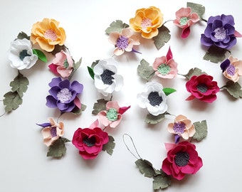 Felt flower garland multicolor teepee topper, photo props, floral wedding garland,nursery floral garland, nursery decor, floral decor