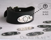 Male slave bracelet Leather and stainless steel. Cuff for slaves, submissives and owned persons in a BDSM relationship