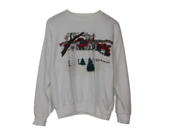 Vintage Xmas Sweatshirt - Winter Wonderland Pullover Crewneck Banded Hemlines White Soft Christmas Shirt Oversized Top Slouchy Shirt Granny