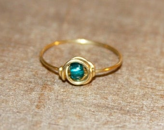 Nu Gold Teal Thin Ring, Teal Beaded Ring, Gold Ring, Teal Wire Wrapped Ring, Minimalist Jewelry. Under 15. Gifts for Her
