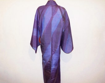 Antique kimono - Single IKAT, Violet, Diagonal, Prewar