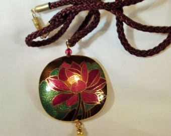Necklace Handmade Cloisonne Lotus Bead Freshwater Pearl Big Bold Pendant Hand Wire Wrap Pearl Long Cord Exotic Boho Forest to Runway