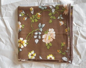 Set of 4 Vintage Floral Print on Brown Cotton Dinner Napkins Funky Floral Vibrant Colors 17 x 16.5 in  Green Yellow Orange Peach Blue Four