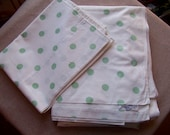 REDUCED Vintage Bates All Cotton Percale Twin Flat Sheet & Pillowcase with Green Polka Dots