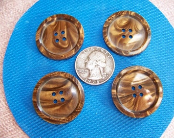 Set of 4 Big Plastic Brown Swirl Buttons