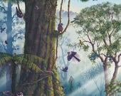 A2 NZ Birds of the Forest poster, Kea, Tui, Kingfisher, Kiwi, NZ artist