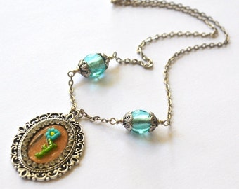 New Price - Birch Bark Beaded Flower Necklace Collection- Aqua