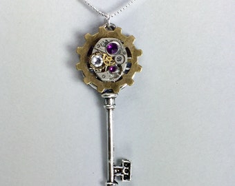 Mechanical Skeleton Key Steampunk Necklace