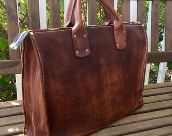 Soft Leather Business Tote* Leather Laptop Bag* Business Bag* Boho Style* Brown Leather* Hand Stitched Hand Made* Made in the USA