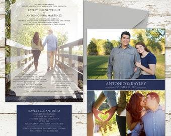 Classic Photo Wedding Invitation - Custom Wedding Invitation Set, engagement photos, pretty paper, LDS weddings, Photo cards