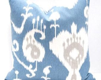 Blue Pillow Cover, Ikat Pillow, Decorative Pillow, Blue Pillow , Cushion Cover Blue Pillow Case Ikat Pillows 18x18 Pillow Cover 20x20