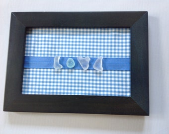 "Genuine Sea Beach Glass Framed ""LOVE"" Beach Glass Letters 5x7 Frame Handmade Handcrafted"