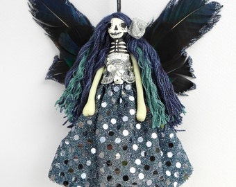 Christmas Ornament, hanging ornament, Day of the Dead Christmas Fairy decoration, OOAK