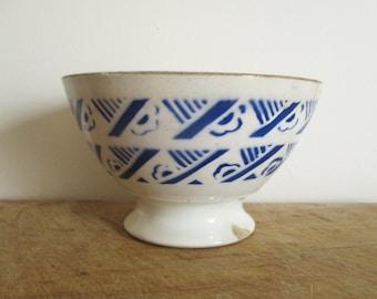 French vintage bowl, BADONVILLER France, Blue,Antique, Bol Café au lait, 1930, Antique home decor