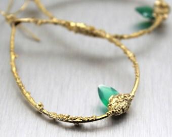 SALE onyx earrings, green onyx, emerald earrings, hoop earrings, palm leaf, tropical jewelry, druzy earrings, gold earrings, gold hoops